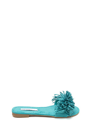 Fringe Watch Faux Suede Slide Sandals