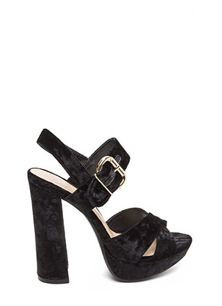 Plush Yourself Chunky Velvet Heels