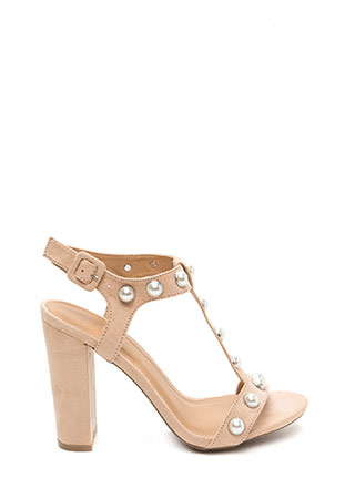 Treasure Hunt Chunky Faux Pearl Heels