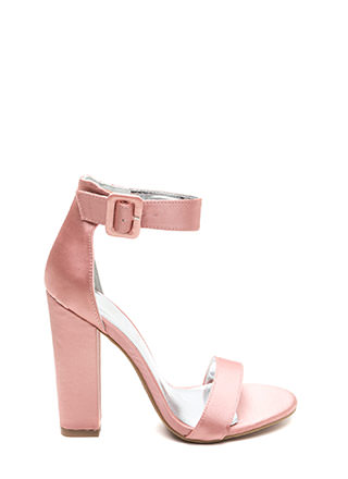 Evening Party Chunky Satin Heels