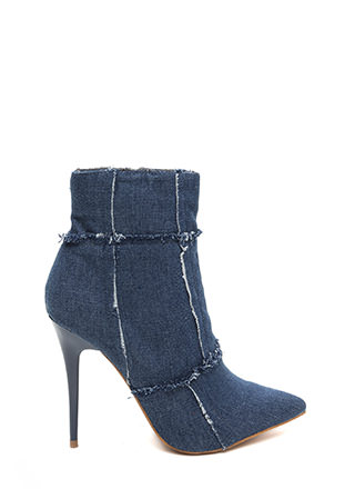 Fray It Cool Pointy Denim Booties