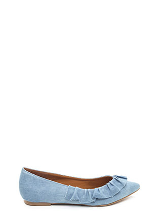 Regal Ruffle Pointy Denim Flats