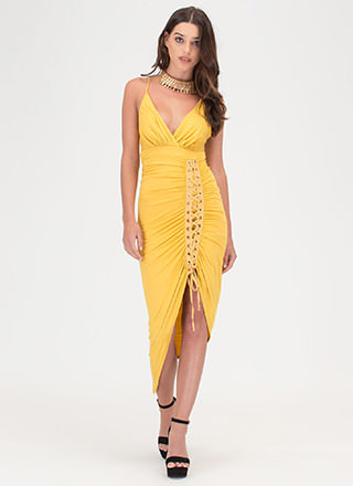 Party Lifestyle Ruched Lace-Up Dress