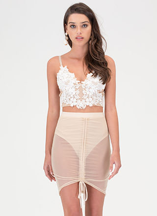 Bare With Me Sheer Ruched Skirt
