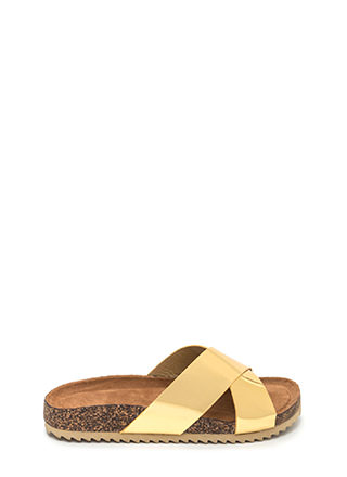 X-Press Yourself Metallic Slide Sandals