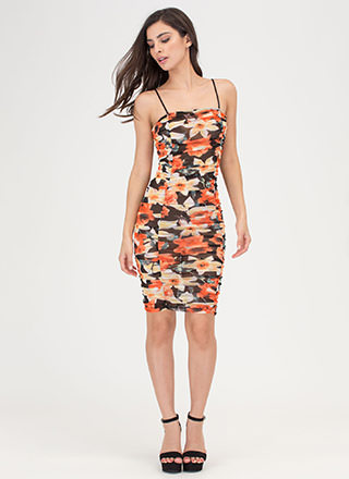 Feeling Ruched Floral Mesh Dress