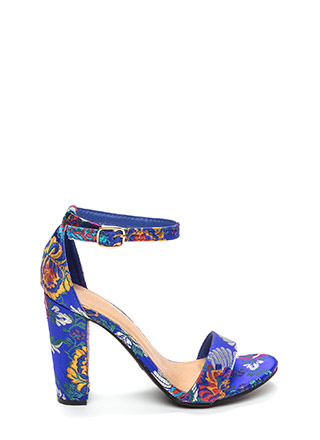 Fashion Dynasty Chunky Embroidered Heels