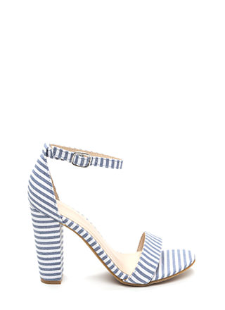 Stripe Gold Chunky Contrast Heels