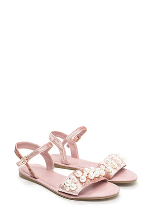 Plush Hour Velvet Faux Pearl Sandals