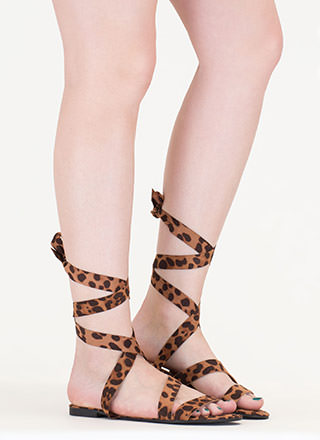 Tied And True Strappy Leopard Sandals