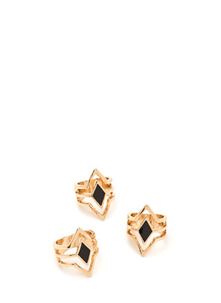 Triple Threat Caged Ring Set