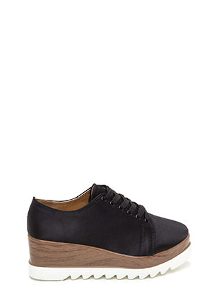 Satiny Smooth Platform Wedge Sneakers