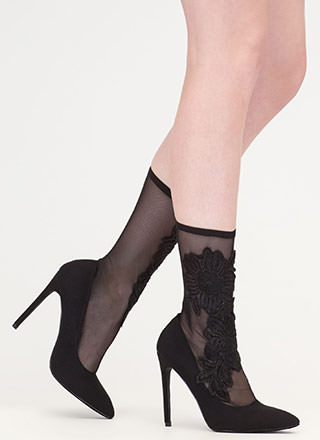 Flower Fix Sheer Pointy Sock Booties