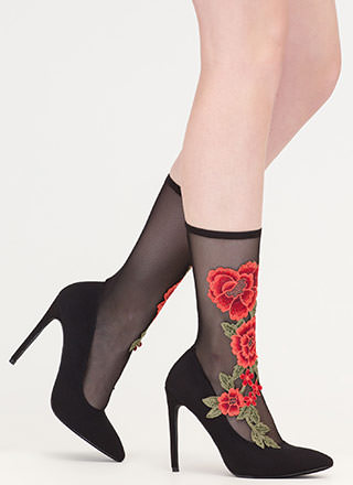 Sheer Beauty Pointy Floral Sock Booties