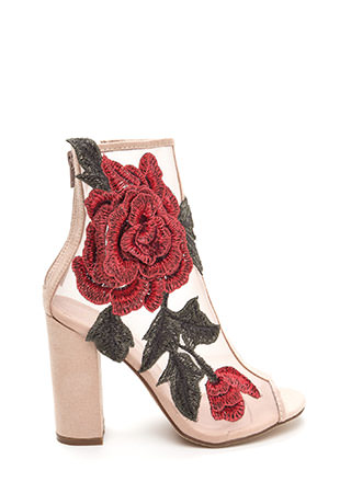 Floral Dimension Chunky Mesh Booties