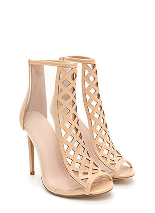 Clear Choice Latticed Caged Heels