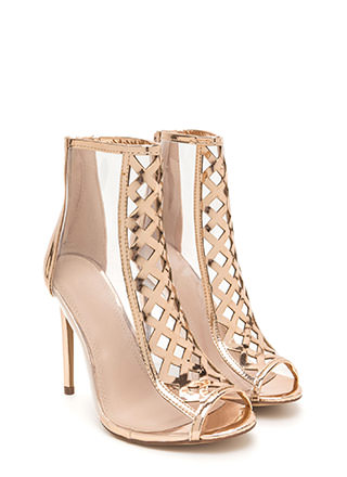 Clear Choice Latticed Metallic Heels