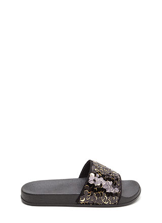 Tip The Scales Sequined Slide Sandals
