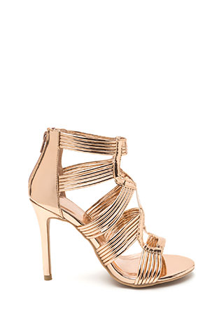 Night To Remember Strappy Metallic Heels
