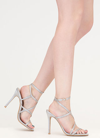 Strappy Sensation Satiny Caged Heels