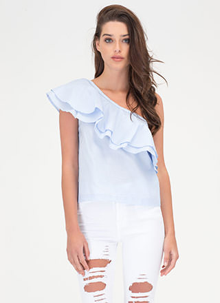 Frill Seeker Ruffled One-Shoulder Top