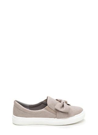 Be My Bow Faux Leather Slip-On Sneakers