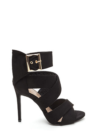 Fashion Fetish Strappy Faux Suede Heels
