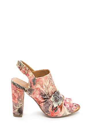 Sassy Style Chunky Cut-Out Floral Heels