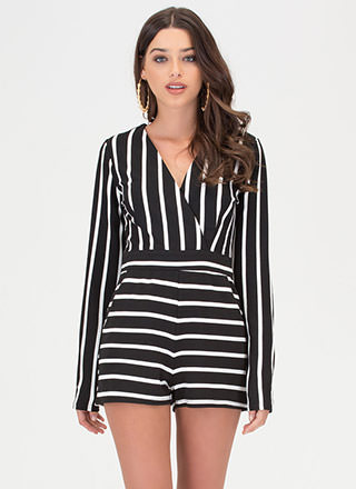 Life Lines Plunging Striped Romper