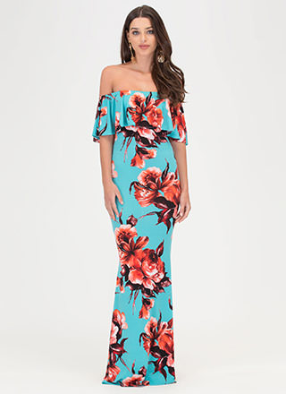 Fanciful Blooms Off-Shoulder Maxi Dress