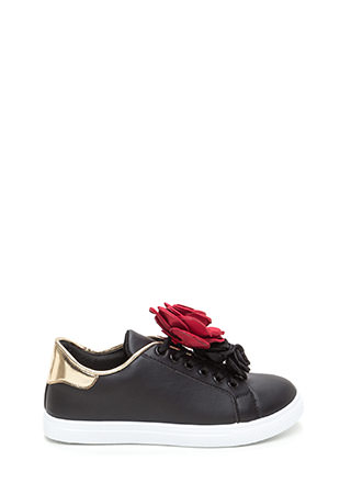 Coming Up Roses Faux Leather Sneakers
