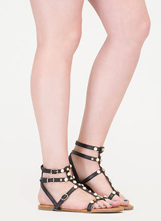 Glam Standard Embellished Caged Sandals