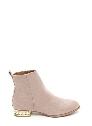 Everyday Glam Chunky Faux Suede Booties