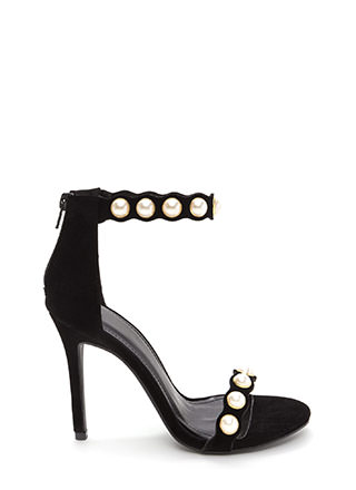 Catch A Wave Strappy Faux Pearl Heels