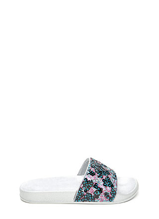 Glitz For You Sequined Slide Sandals