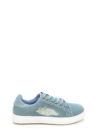 Cool Girl Denim Lace-Up Sneakers