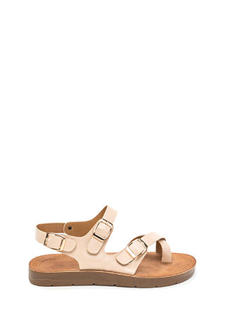 Triple Up Buckled Faux Leather Sandals