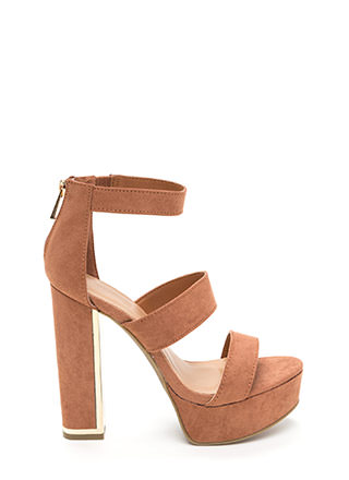 Three Time Chunky Faux Suede Heels