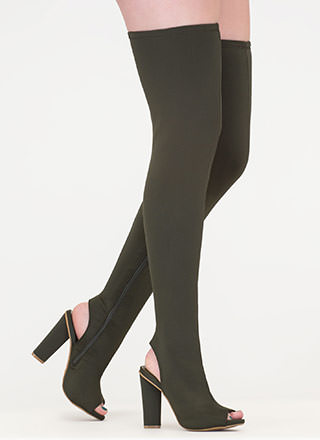 Sleek Profile Chunky Thigh-High Boots