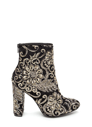 Glam Blooms Pointy Chunky Velvet Booties