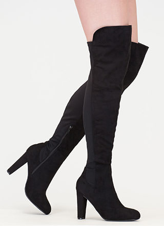 Impeccable Style Chunky Thigh-High Boots