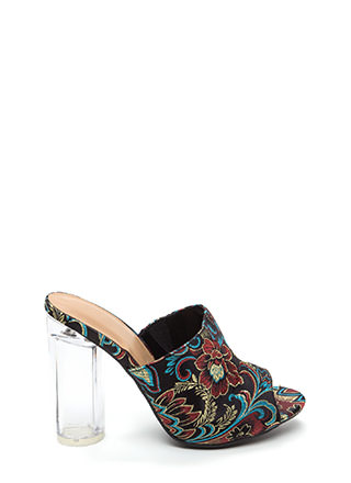 Go With The Floral Chunky Mule Heels