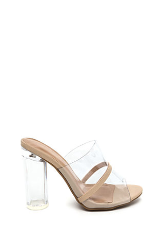 Clearly Perfect Chunky Mule Heels
