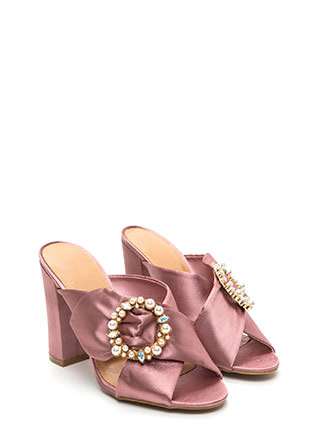Treasure Map Chunky Satin Mule Heels