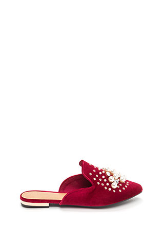 Life Of Luxury Jeweled Velvet Mule Flats