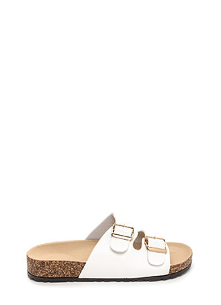 Buckled Up Faux Leather Slide Sandals