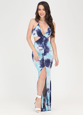 Tongue Tie-Dyed Cut-Out Maxi Dress
