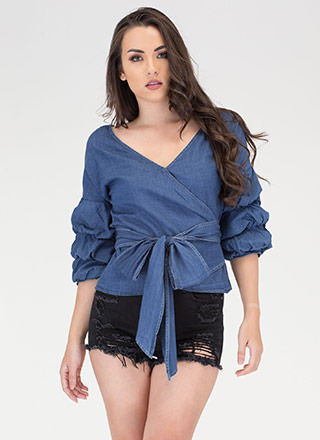 Chambray Bae Statement Wrap Top