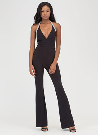 Glam Goddess Sparkly Palazzo Jumpsuit