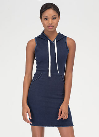 Casual Getaway Hooded Denim Dress